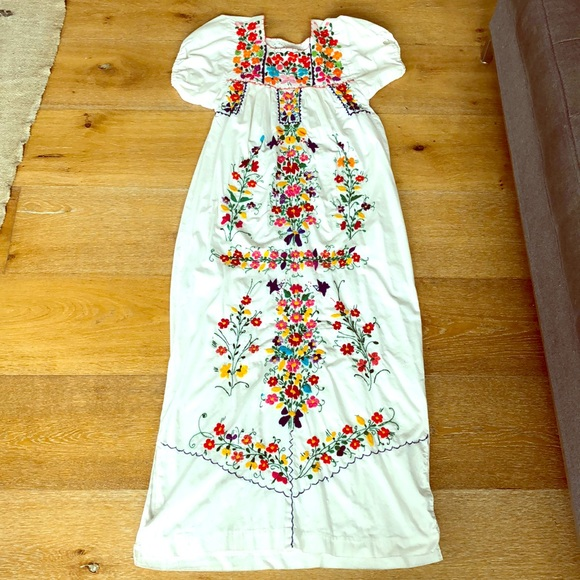 mexican kaftan Mexican dress with hand embroidered flowers Oaxaca dress mexican dress black dress mexican embroidered dress